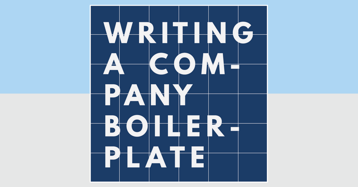 Writing A Company Boilerplate