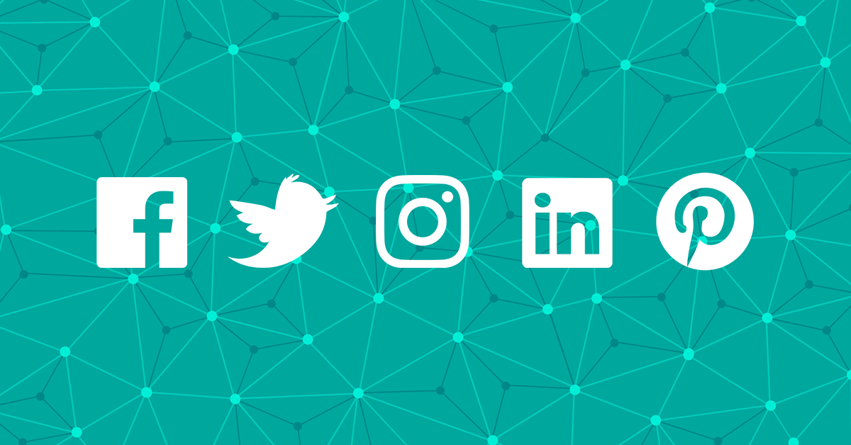 social media icons over a teal background