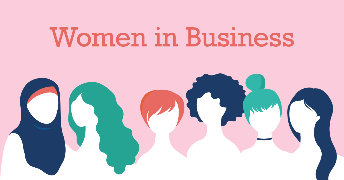 Women in Business text over diverse women illustration