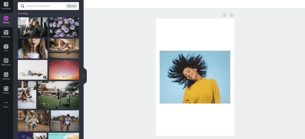 Screenshot of Canva.com showing a photo gallery.