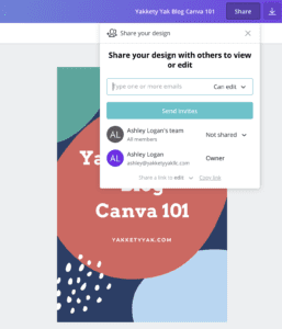 Screenshot of Canva.com showing share setting available in the site.
